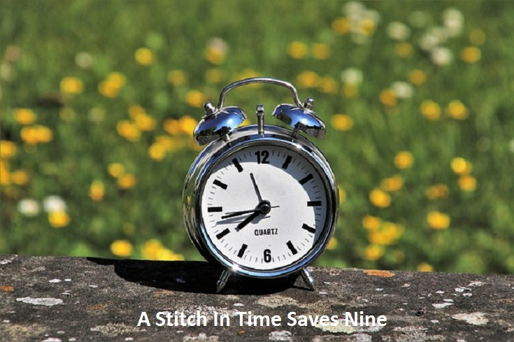 """Live Example Of """"A Stitch In Time Saves Nine"""" Proverb"""