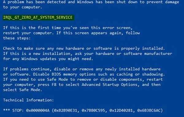HOW TO FIX IRQL_GT_ZERO_AT_SYSTEM_SERVICE BSOD ERROR ON WINDOWS 10?