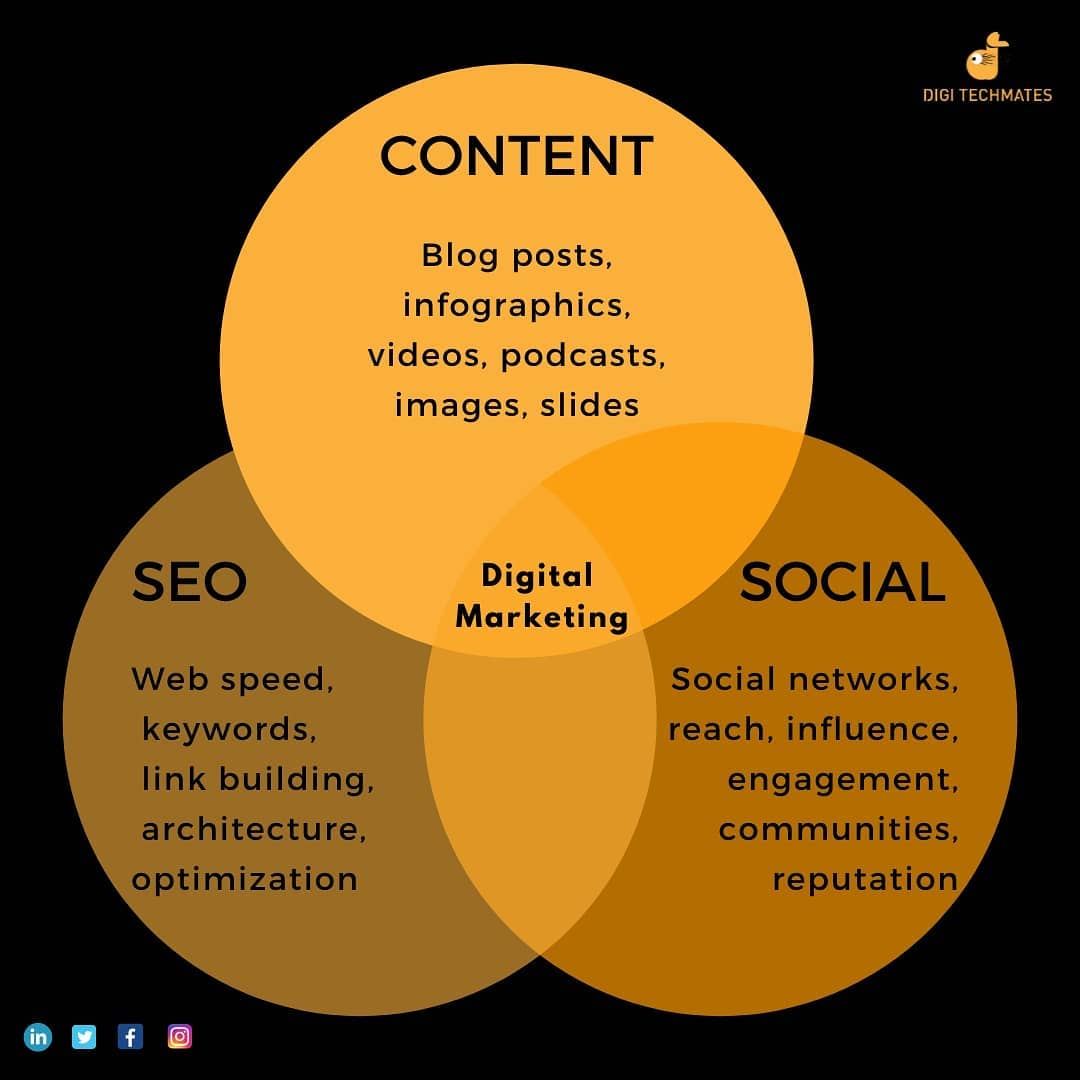 "Digi Techmates's Instagram profile post: ""The entire world of Digital Marketing revolves around 3 things and they are:  1) Content 2) SEO 3) Social Networking . .…"""